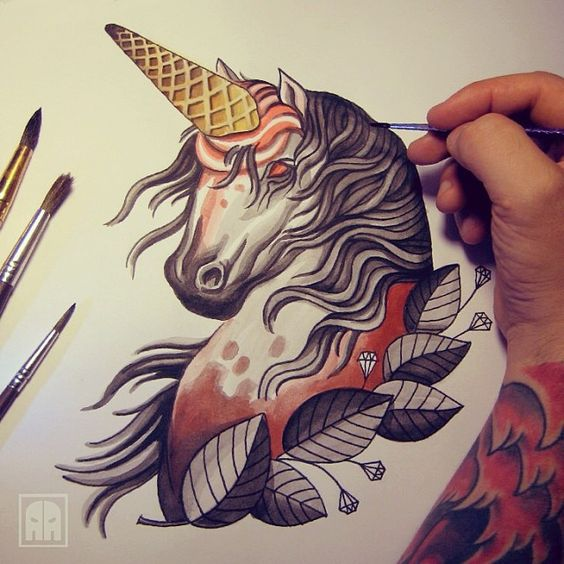 Unicorn ageevtattoo sevastopol sketch traditional for Horse tattoo traditional