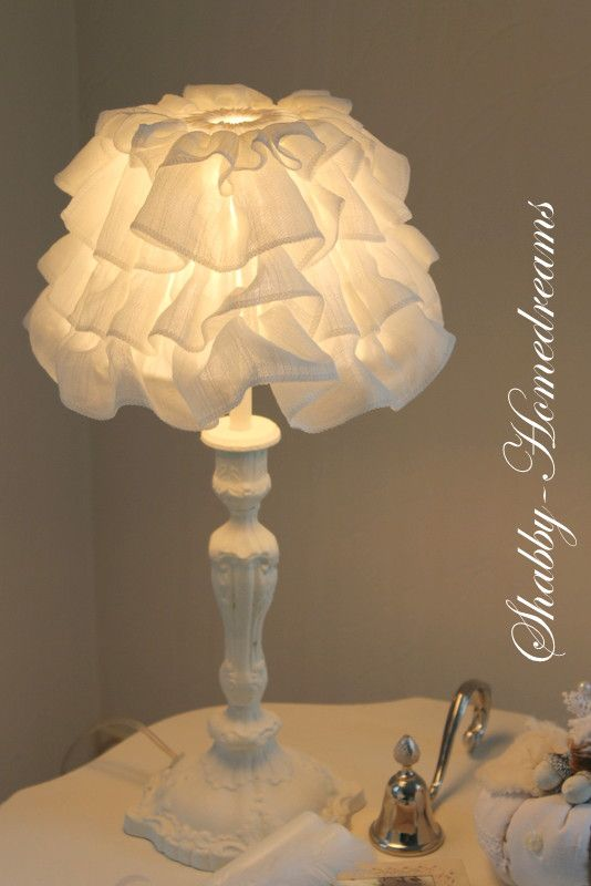 Bedroom Lampshade Idea for DIY. White, Chippy, Shabby Chic, Whitewashed, Romantic, Cottage, French Country, Rustic, Swedish decor Idea. ***Pinned by oldattic ***.
