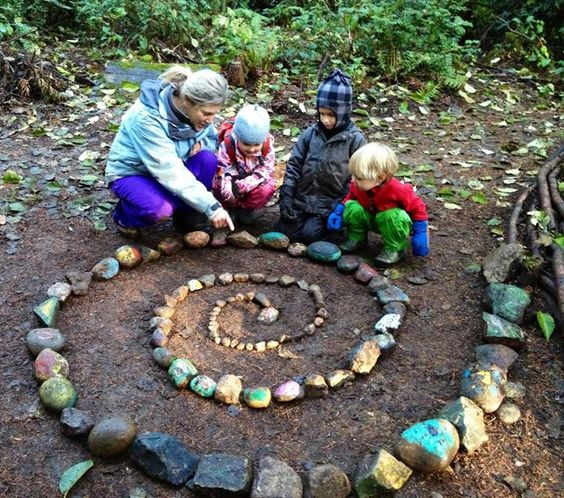 "Love this 'Solstice Spiral' made out of painted rocks at Forest Kindergarten Teacher Network ("",):"