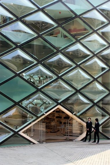 Prada building facade and architecture on pinterest for Window shapes and designs