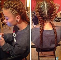 Two French Braids With Weave Braid Long Hair Styles Braided Hairstyles Hair Styles