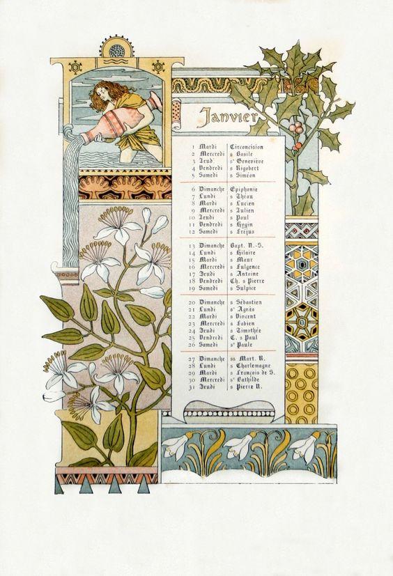 Met Art Calendar : Janvier eugene grasset collection calendars