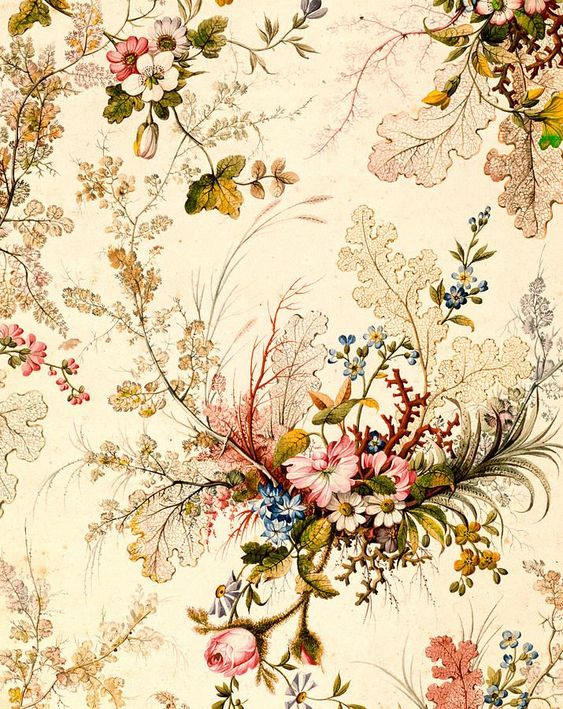 Beautiful floral flower butterfly aged vintage pink white red blue ...