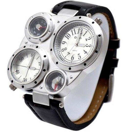 oulm オウルム コンパス 温度計 腕時計アナログ 方位計 メンズ cos time-3 (ホワイト文字盤 x ブラックベルト)