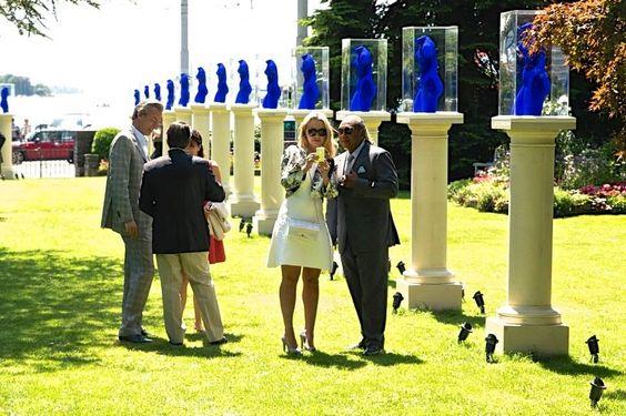 Yves Klein Artist Blue Sculptures Exhibition Private Reception Figure Sculpture Garden Art In The Park XII French (1928-1962) Tribute Baur au Lac Park Zurich Switzerland