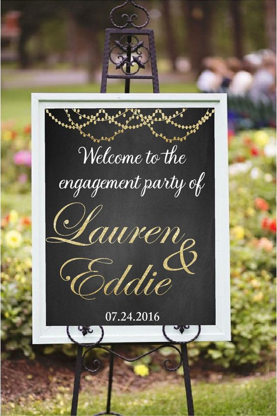 Engagement Party Decor, DIY Printable, Welcome to the engagement party, custom printable, Golden glitter sign, engagement Decorations