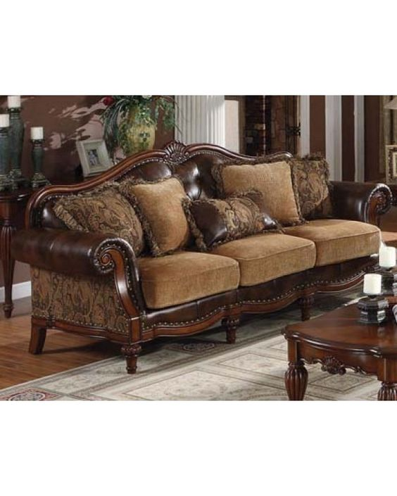 celebrate your home with this traditional chenille leather sofa set comes in brown wood frame and leather upholstery with fabric plush cushion wi - Wood Frame Sofa With Cushions