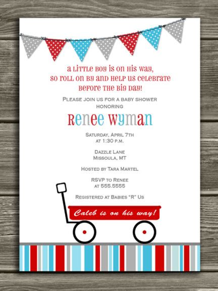 Printable Red Wagon Baby Shower Invitation | Radio Flyer Invite ...