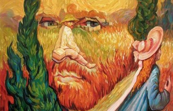 Oleg Shuplyak's Illusory Paintings. Il pitture ucraino Oleg Shuplyak nei suoi dipinti a olio riesce a creare delle magnifiche illusioni ottiche: ogni tela ha più personaggi e scene che cambiano dalla scelta del livello visivo. moillusions.com
