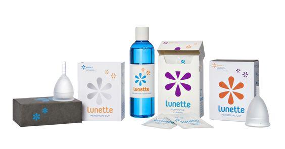 Produtos Lunette: Copo menstrual tamanho 1 ou 2, líquido de limpeza e toalhitas desinfectantes.