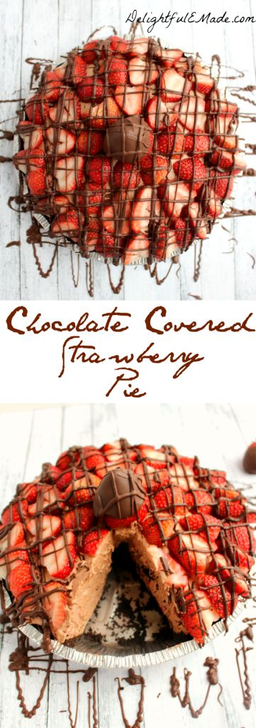 This Chocolate Covered Strawberry Pie has a delicious chocolate & strawberry cream filling, topped with more strawberries and drizzled with chocolate!  Its one decadent dessert that will satisfy any sweet-tooth! (scheduled via http://www.tailwindapp.com?utm_source=pinterest&utm_medium=twpin&utm_content=post288061&utm_campaign=scheduler_attribution)