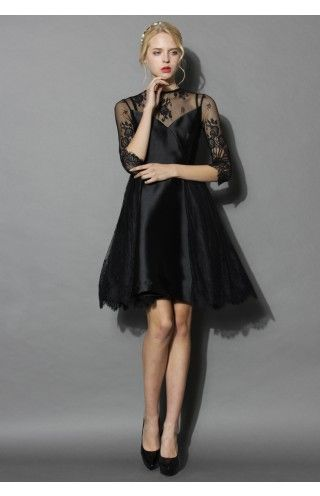Charming Queen Lace Flare Dress in Black - Dress - Retro, Indie and Unique Fashion