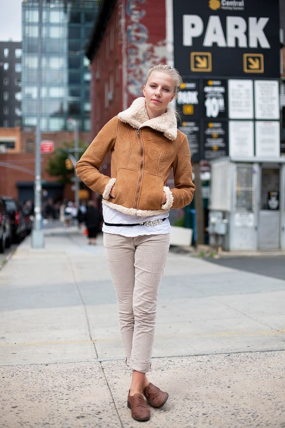 sheepskin jacket and oxfords