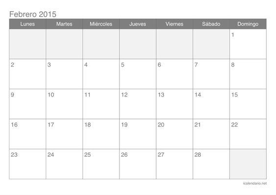 Calendario de febrero 2015 calendar