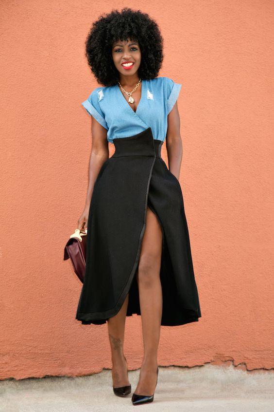 Style Pantry | Wrap Denim Top + Origami Wrap Skirt