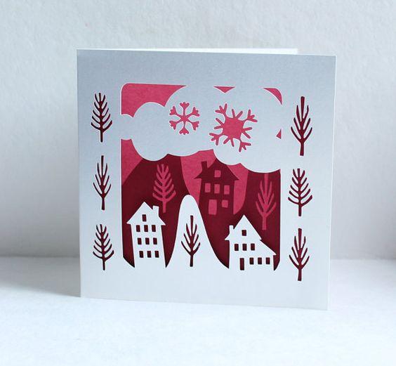 Papercut Winter Folk scene Silhouette Greetings Card