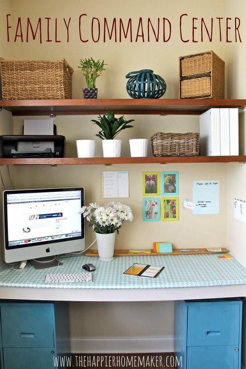 2 File Drawers Painted With Desk Top And Shelving Great Set Up In 2020 Family Command Center Command Center Home Organization