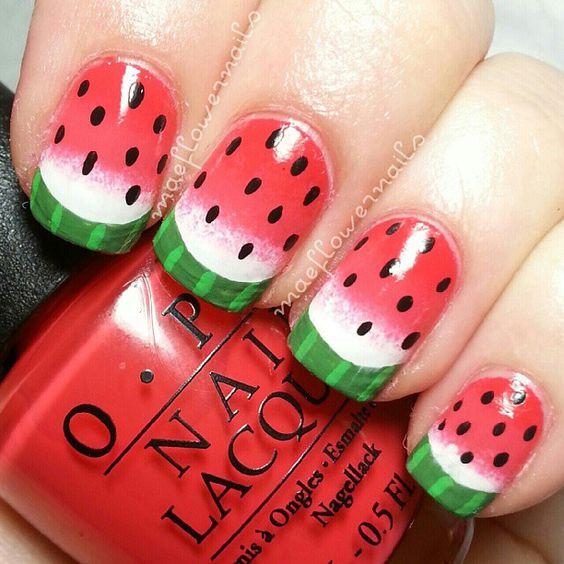Fruit nail art - melon nails  Le encantara estas! Disponible en Bella Beauty College. . . www.Facebook.com/BellaBeautyCollege