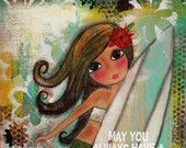 Shower you with LOVE 5x7 aRT card Print by Southendgirlart on Etsy