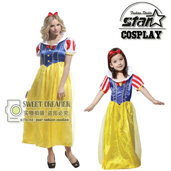 Snow White Mother Daughter Matching Dress Lovely Little Girl Soft - mother daughter halloween costume ideas