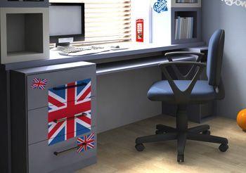 D co chambre ado style londres kit stickers drapeau - Deco chambre style anglais ...