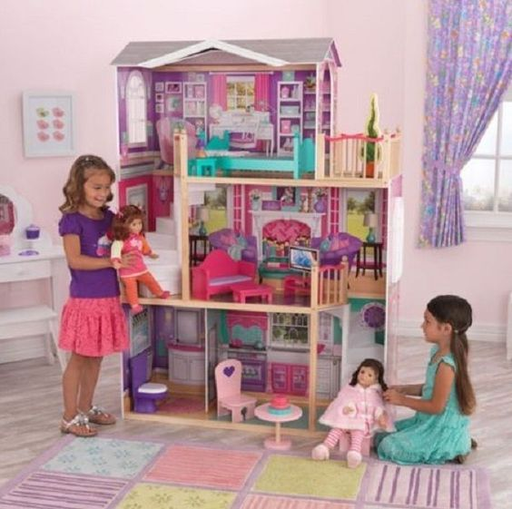 "Jumbo Doll House Furniture 18"" Large Wooden American Girl Manor Kit Mansion Play…"