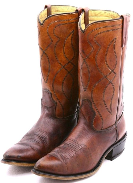 Acme Mens Cowboy Boots Size 9.5 D Brown Leather Foot Brown Western ...