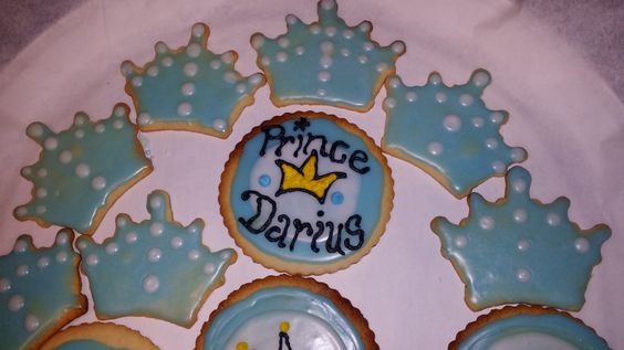 My lil prince's 1st birthday cookies