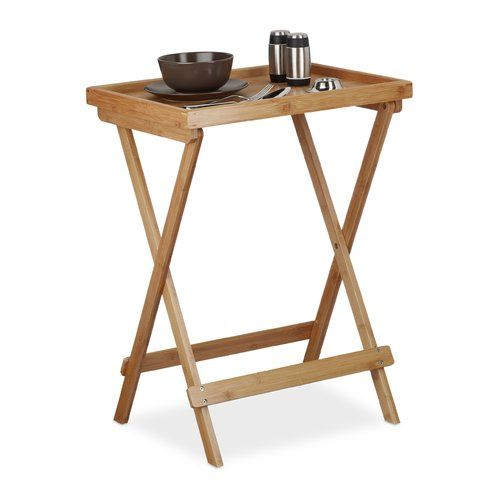 Bamboo Folding Side Table Relaxdays Side Table Table Relaxdays