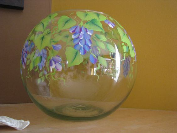 Beautiful glass vase and vase on pinterest for Painted glass fish