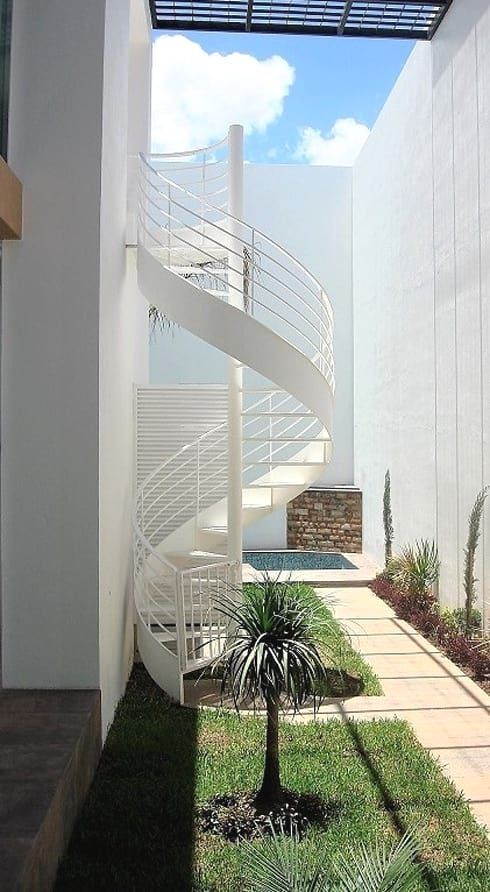 38 Small Terrace Design Projects To Maximize Your Small Space   Outside Stair Design For Small House   2 Story   Cement Stair   House Chennai   Residential   Stair Room