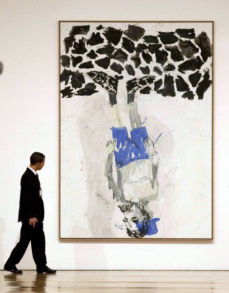 """Baselitz also wasn't too thrilled about the art market in Germany. """"There's a market for art (in Germany), and things are indeed going swimmingly, especially for German artists,"""" he said. """"But everything takes place in America and in London, where there are quite a few wealthy, engaged people."""" This Baselitz work is titled """"Kunst auf dem Kopf,"""" or """"Art on its Head."""""""