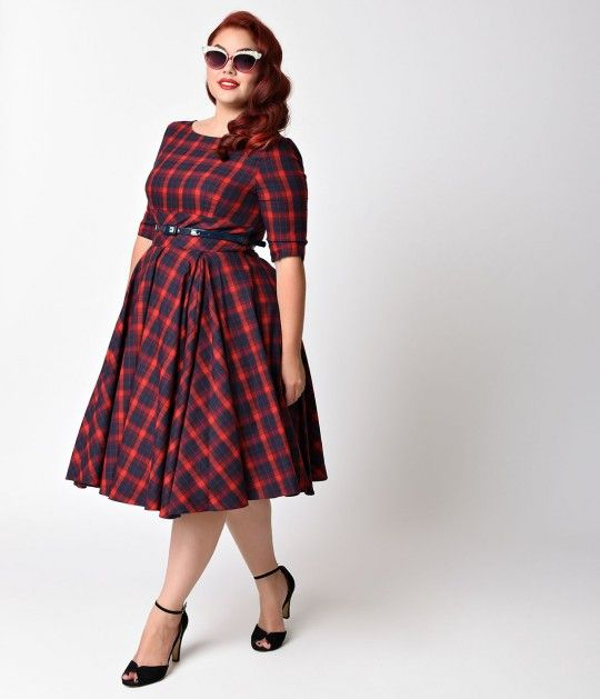 Plus Size Vintage Style Navy Blue & Red Roses Long Sleeve Maxi Dress
