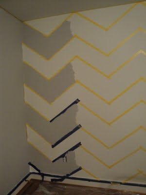 How to paint a chevron wall... I feel like i could convince kurtz and the administration to do this with senior lounge. Make the walls east wall white and west wall blue and then chevron the north an south wall between the white and blue... It would look sick.