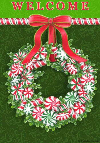 Custom Decor Flag Peppermint Wreath Decorative Flag at Garden