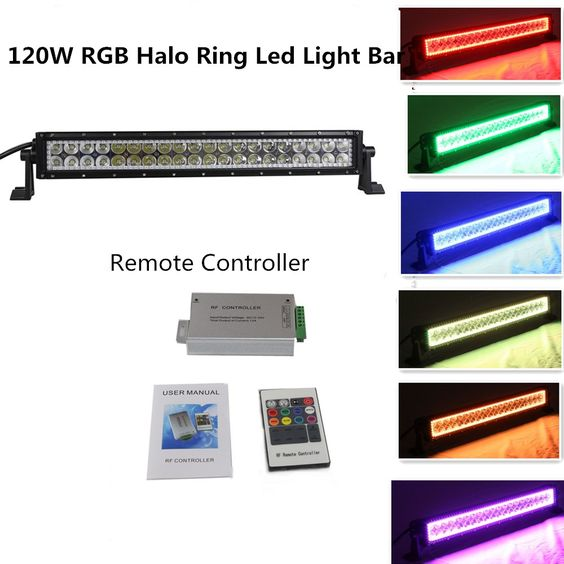 Straight 20/ 22 Inch 120w Color Changing LED Light Bar with Remote Controller Waterproof 12000 Lumen for 4wd SUV UTE Offroad Truck ATV UTV