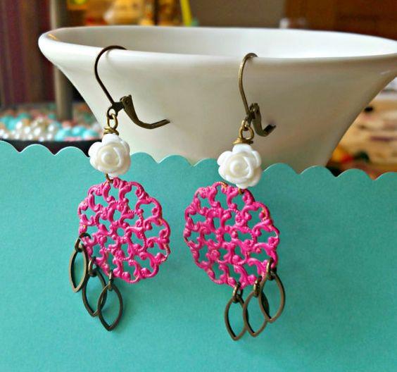dream catchers. raspberry pink patina filigree by FabFleaMarket