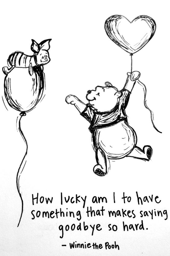 """Hand drawn by myself- Winnine the Pooh Quote """"How lucky am I to have something that makes saying goodbye so hard"""" pamcmillin on Instagram"""