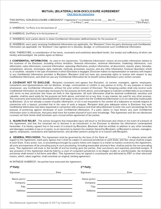 Download a free Non-Disclosure Agreement (NDA) or confidentiality - mutual business agreement