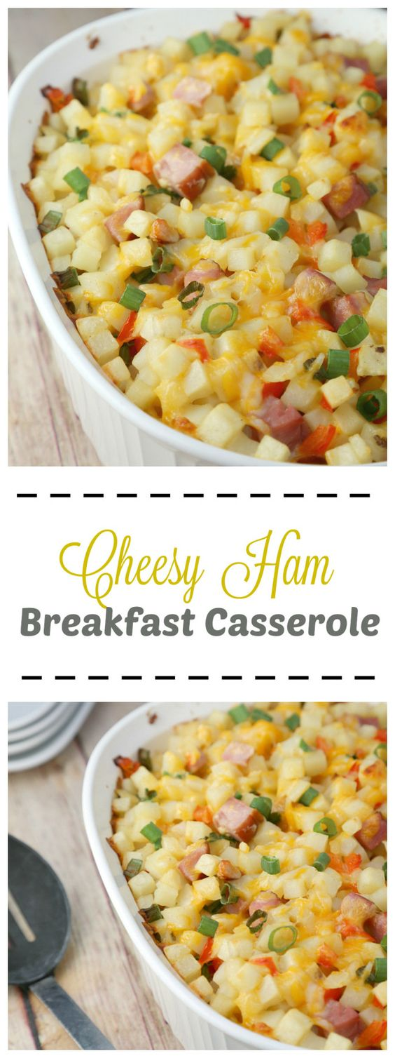 Cheesy Ham Breakfast Casserole - During the holidays I reach for a breakfast casserole recipe - a one-dish, make-ahead meal! #eggsforlife