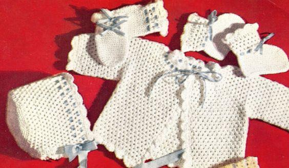 Beauty Set baby matinee coat setl vintage crochet pattern PDF instant download
