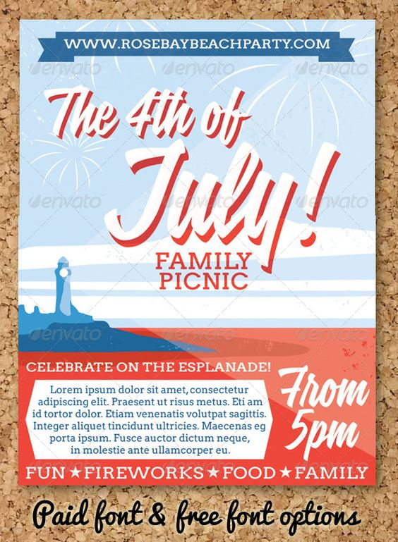 July 4 Event Flyer or Party Invitation Event flyers, Flyer - picnic flyer template