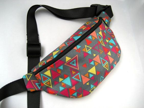 diy fanny pack pattern   80s Gray Triangle Pattern Fanny Pack- For concerts!