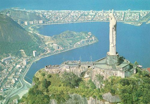 Brazil - Rio De Janeiro, Aerial View, Corcovado, Lake & Christ Redeemer by 9teen87's Postcards, via Flickr