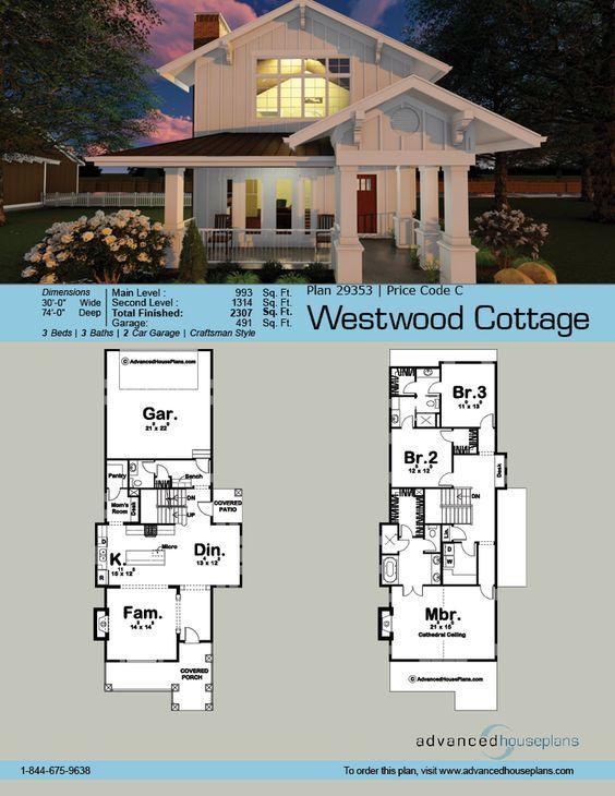 2 Story Craftsman House Plan Westwood Cottage Beach House Plans Lake House Plans Narrow House Plans