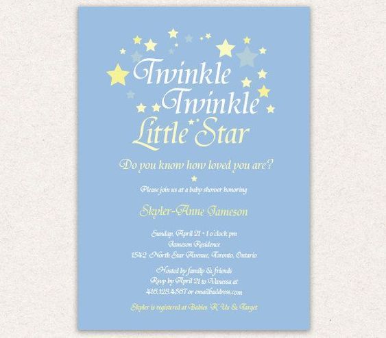 twinkle twinkle little star baby shower invitation wording google