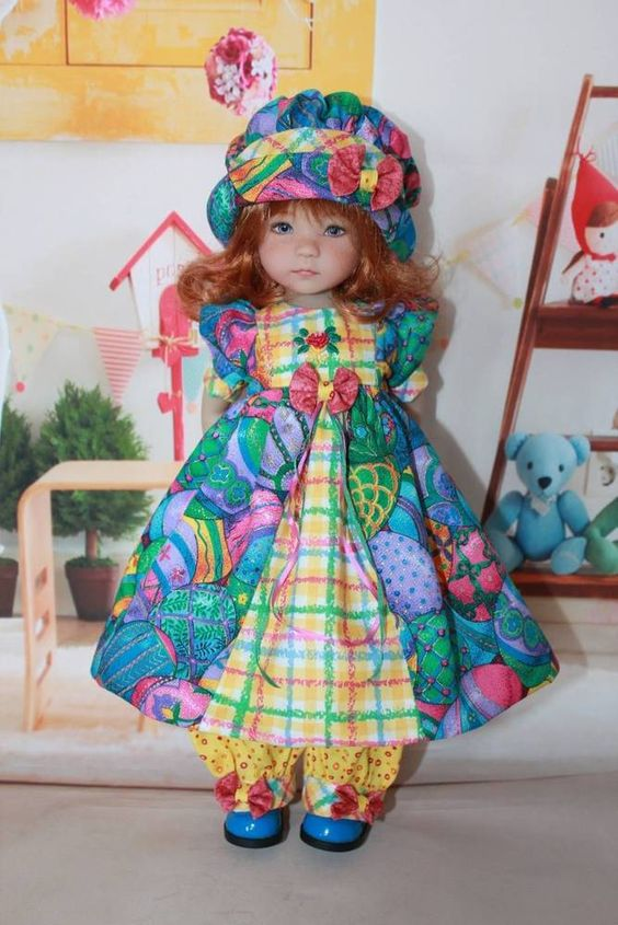 "13"" Dianna Effner's Little Darlings ""EASTER COLORS"" Dress Ensemble. #DiannaEffner"