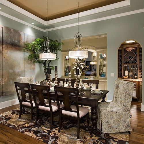 Elegant Dining Rooms: Wall Color: Sherwin Williams SW 6206 Oyster Bay