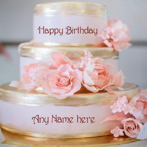 Write Your Name On Beautiful Rose Flowers Luxury Birthday Cake Pic