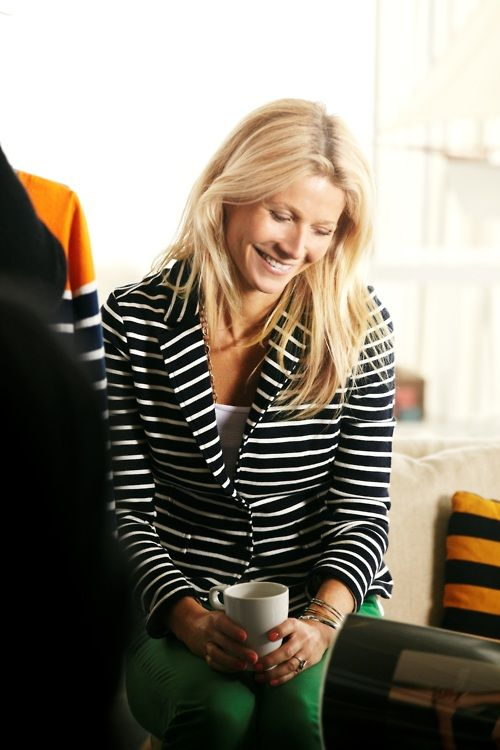 green jeans and striped blazer - Love you Gwen!
